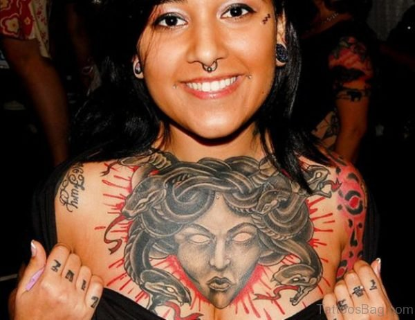 Grey 3D Medusa Tattoo On Chest Image