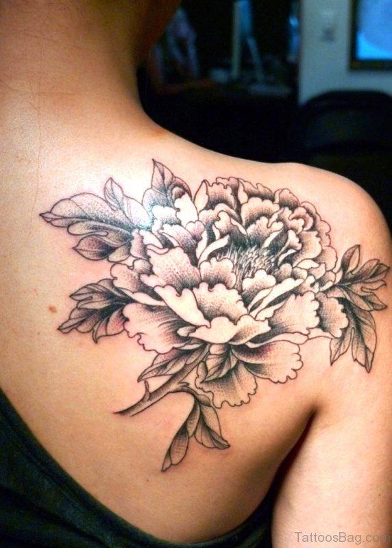 Grey And Black Flower Tattoo On Shoulder