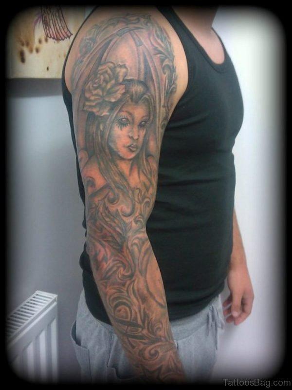 Grey Angel Tattoo On Full Sleeve