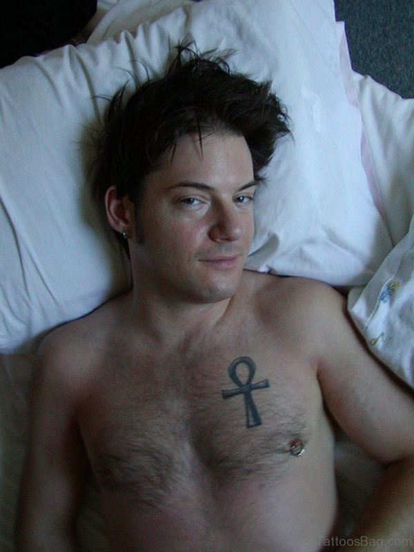 Grey Ankh Tattoo On Chest