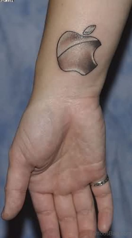 Grey Apple Logo Tattoo On Wrist