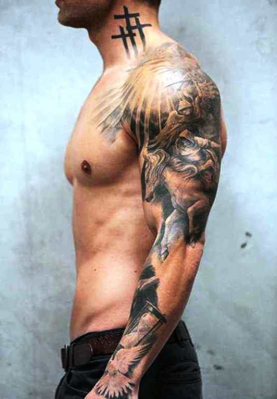 Grey Armour Shoulder Tattoo