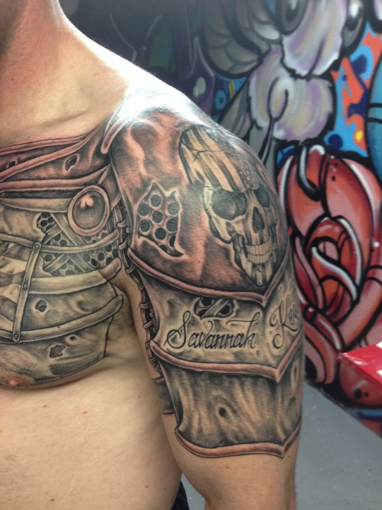 55 great armor tattoos for chest. Black Bedroom Furniture Sets. Home Design Ideas