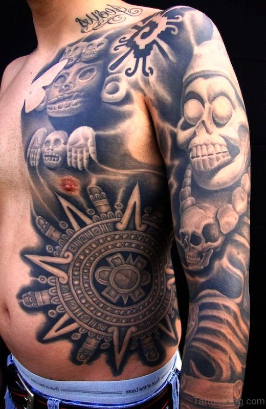 Grey Aztec Mexican Tattoo