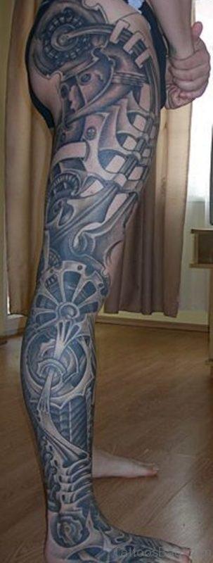 Grey Biomechanical Tattoo On Leg