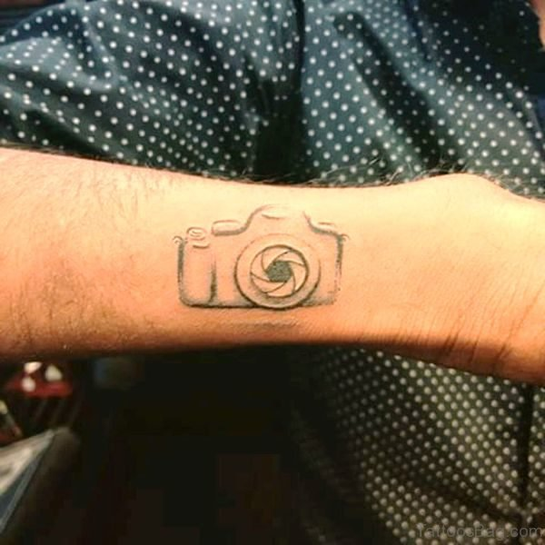 Grey Camera Tattoo On Wrist