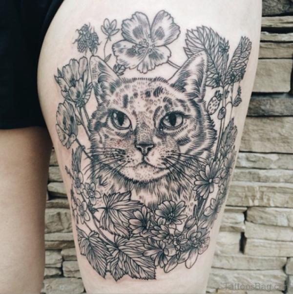Grey Cat Portrait Tattoo