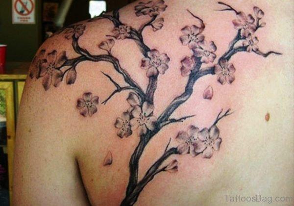 Grey Cherry Blossom Tree Tattoo