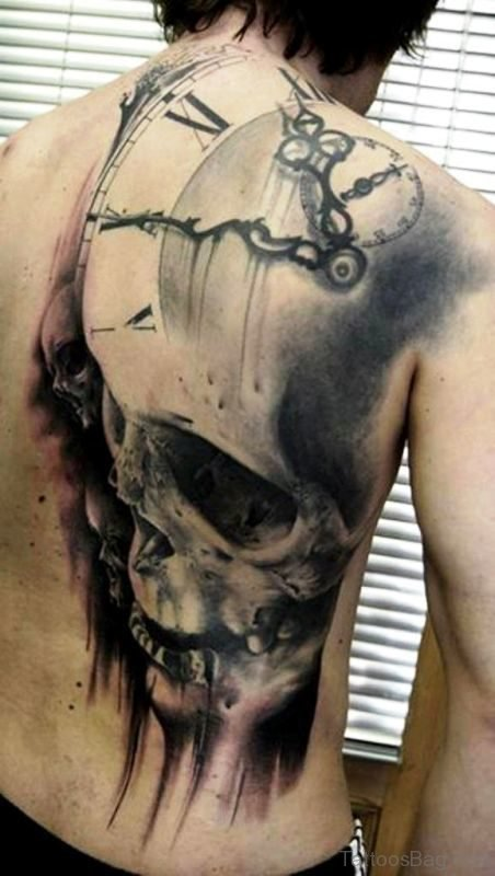 Grey Color Skull And Clock Tattoo