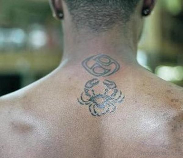 Grey Crab Tattoo On Neck Back