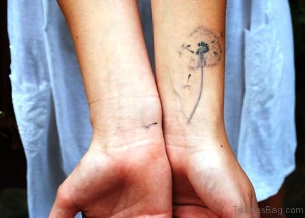 Grey Dandelion Tattoo On Wrist