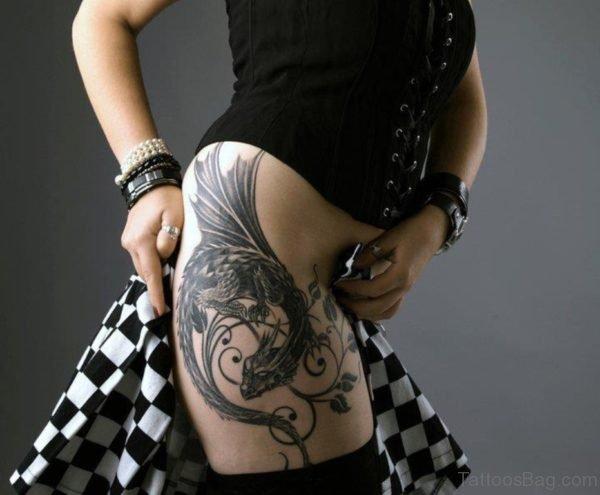 Grey Dragon Tattoo On Thigh