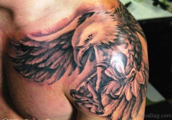 Grey Eagle Shoulder Tattoo