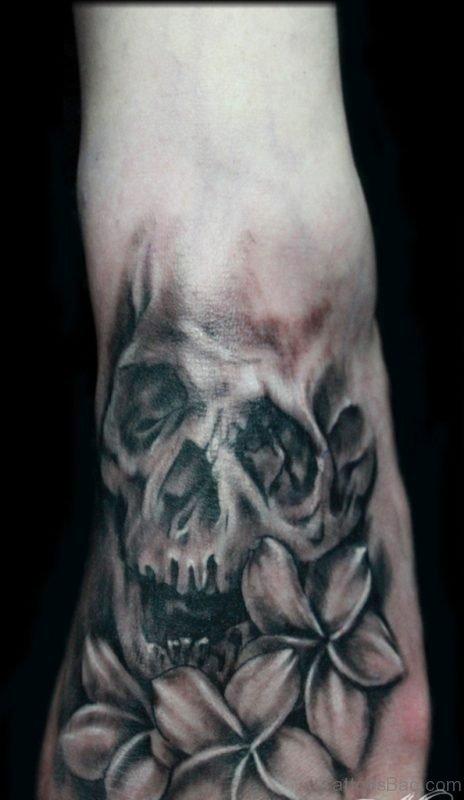 Grey Flower And Skull Tattoo