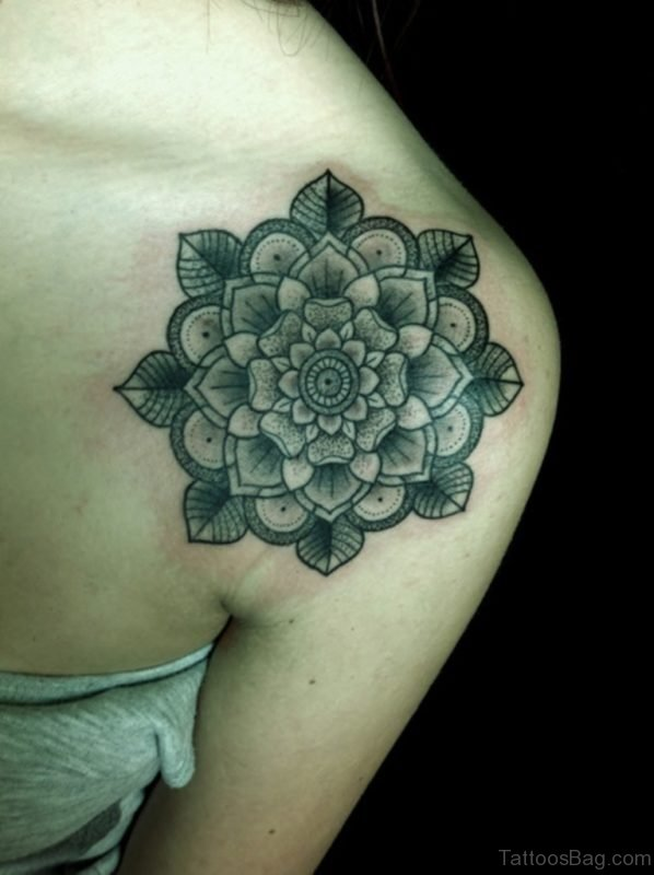 Grey Flower Tattoo