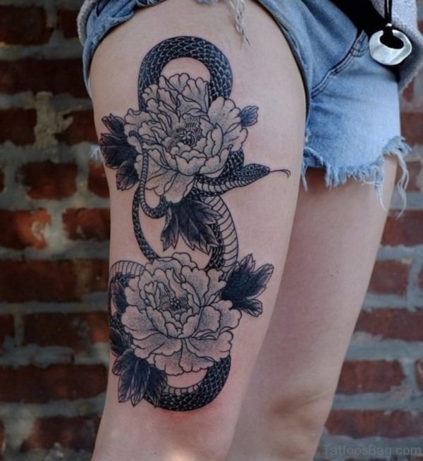 Grey Flowers And Snake Tattoo