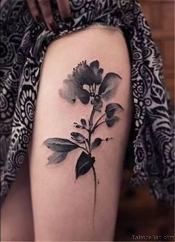 Grey Flowers Tattoo On Thigh