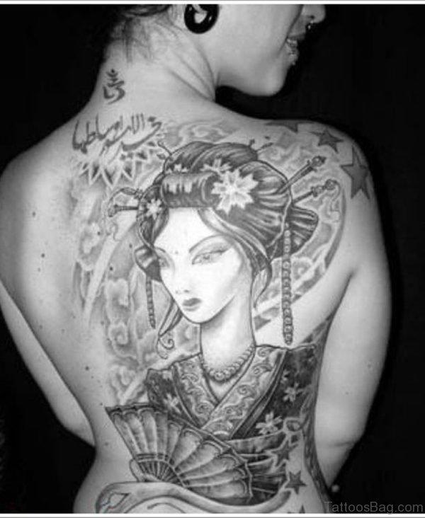 Grey Geisha Tattoo Design
