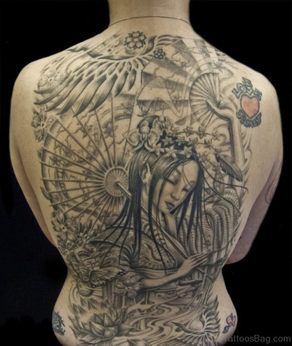 Grey Geisha Tattoo Design On Back