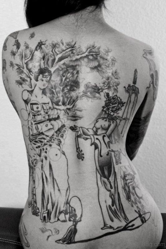 Grey Geisha Tattoo On Back