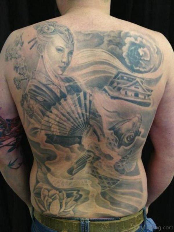Grey Geisha Tattoo On Back Image