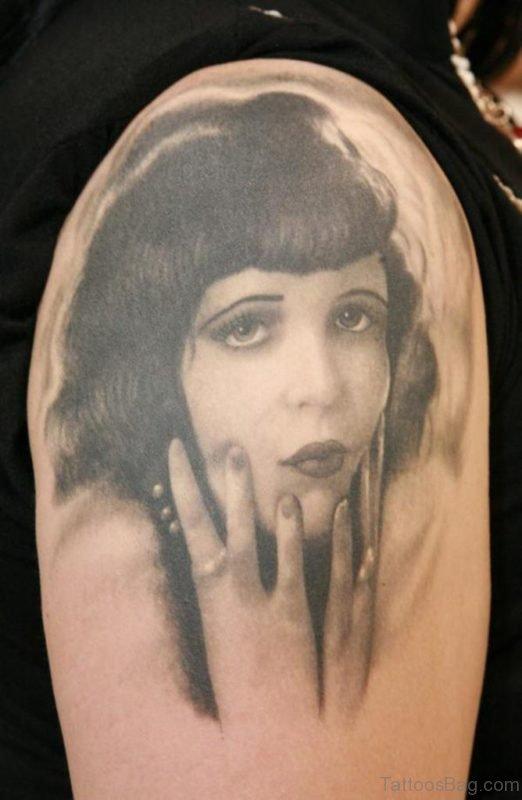 Grey Girl Portrait Tattoo Design