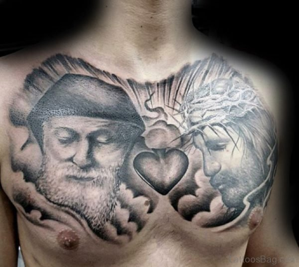 Grey Heart And Jesus Tattoo
