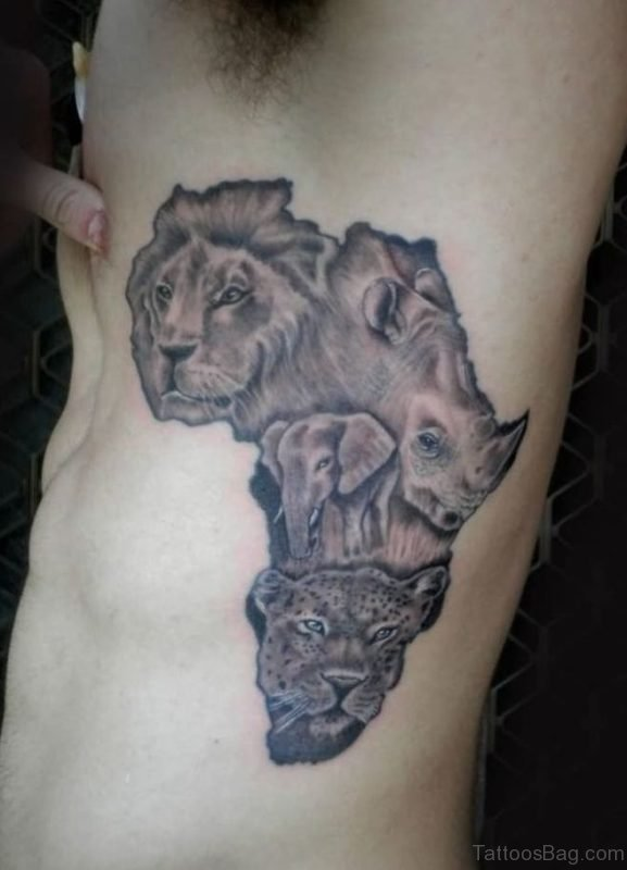 Grey Ink African Map Tattoo On Rib