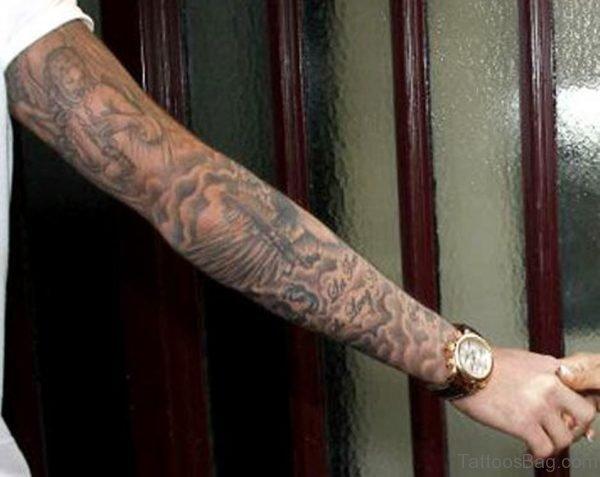 Grey Ink Angel Tattoo On Right Full Sleeve