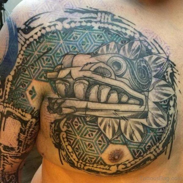 Grey Ink Aztec Mexican Tattoo
