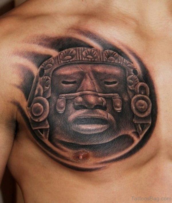 Grey Ink Aztec Tattoo On Man Chest