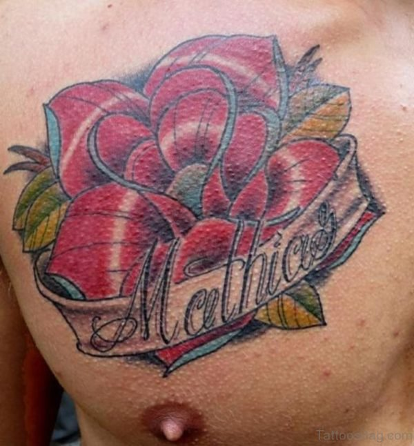 Grey Ink Banner And Rose Tattoo On Chest