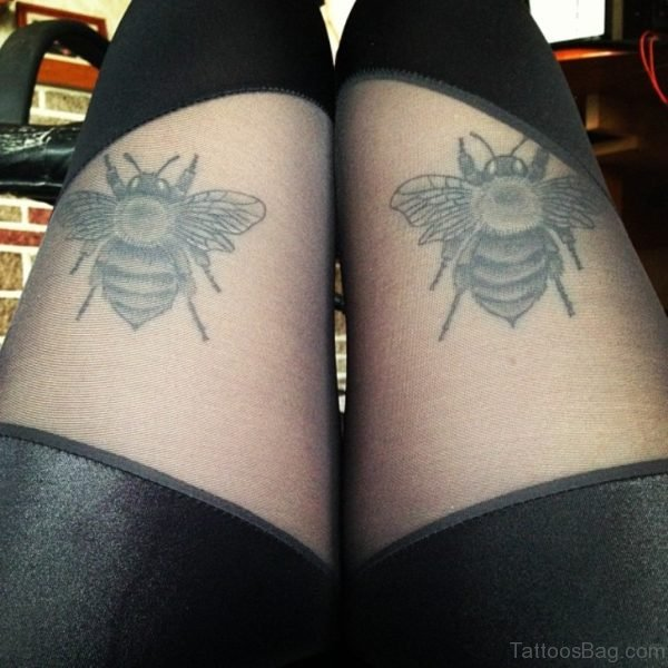 Grey Ink Bee Tattoos On Thigh