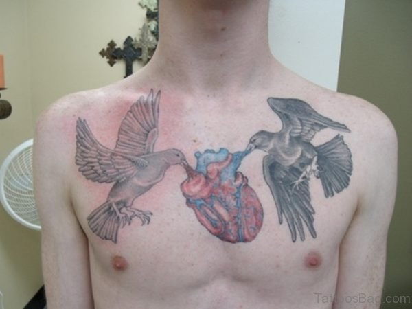 Grey Ink Birds And Color Heart Tattoo On Chest