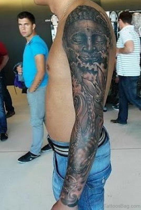 Grey Ink Buddha Tattoo