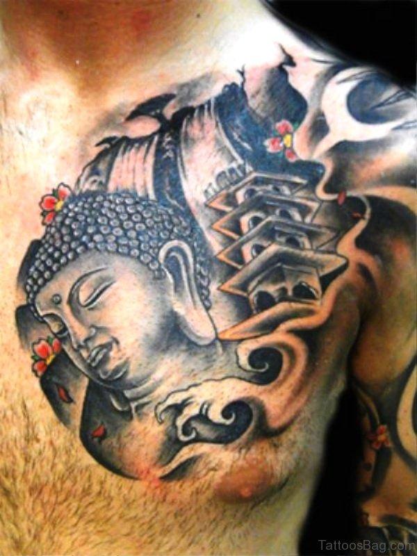 Grey Ink Buddha Tattoo On Chest