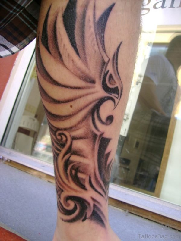 Grey Ink Flying Eagle Tattoo On Leg