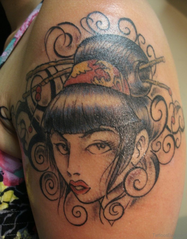 65 graceful geisha tattoos on shoulder for Grey tattoo ink