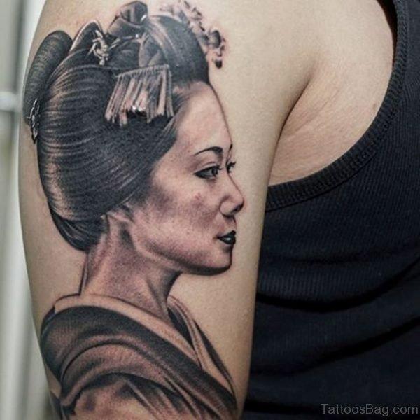 Grey Ink Geisha Tattoo