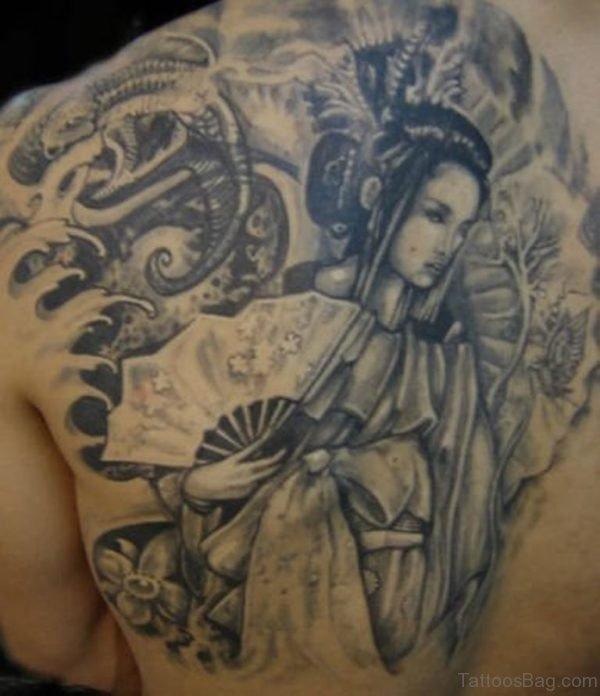 Grey Ink Geisha Tattoo On Back Body