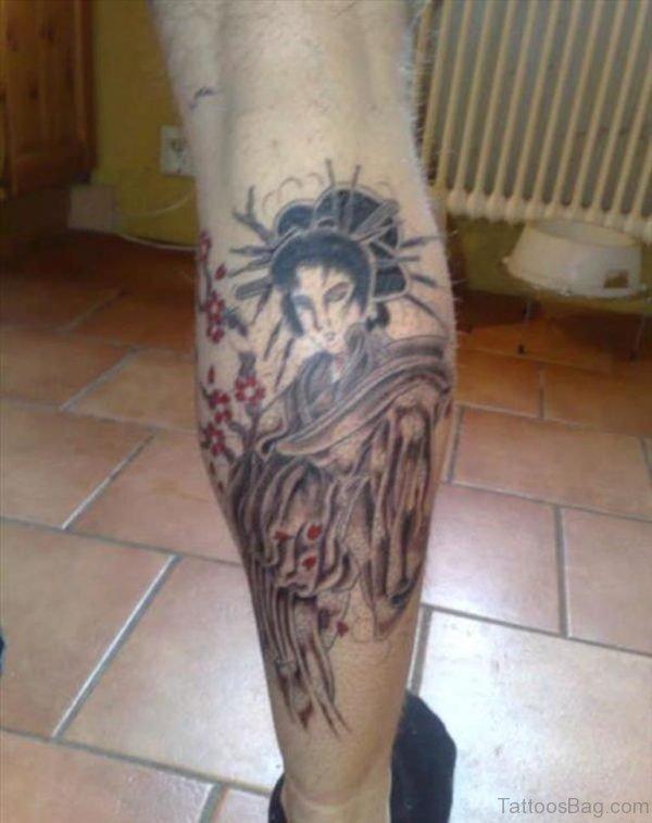 Grey Ink Geisha Tattoo On Right Back Leg