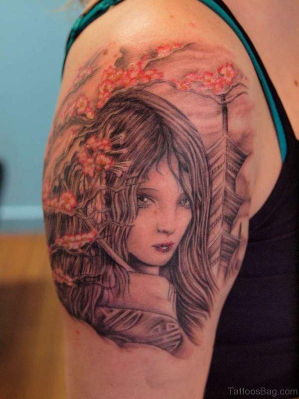 Grey Ink Geisha Tattoo On Right Shoulder