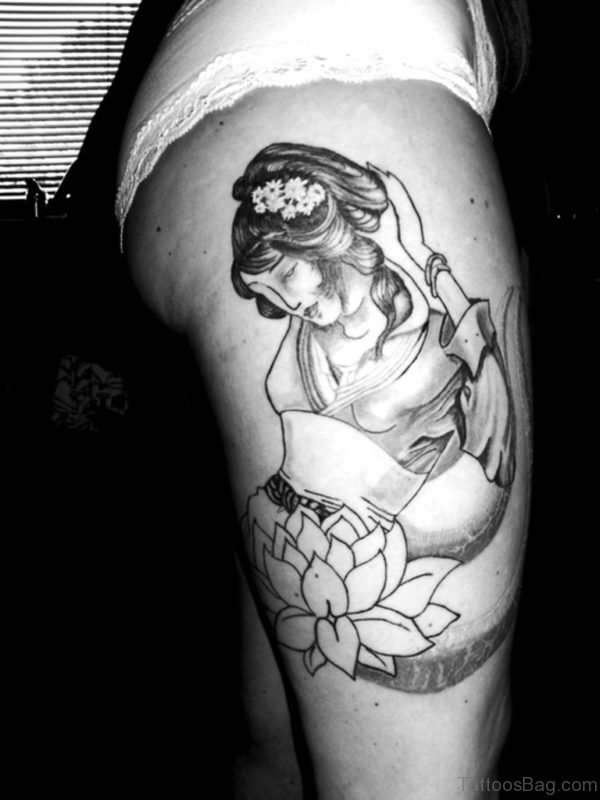 Grey Ink Geisha Tattoo On Right Thigh