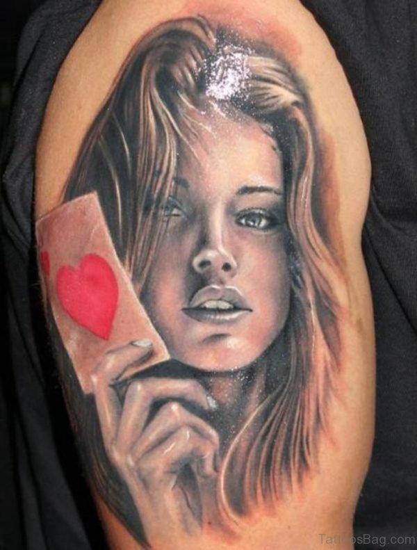 Grey Ink Girl Portrait Tattoo