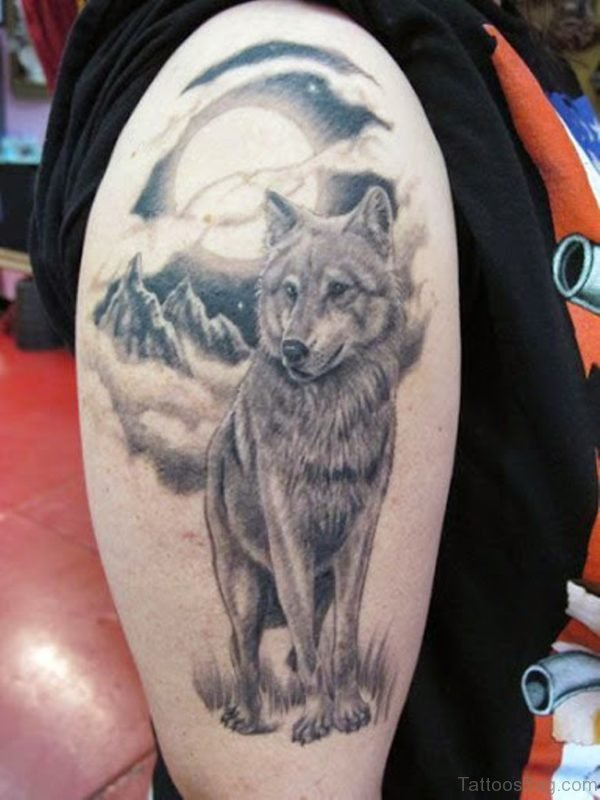 Grey Ink Howling Wolf Head Tattoo
