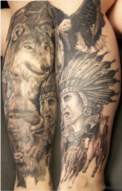 Grey Ink Indian Chief With Wolf Tattoo On Leg