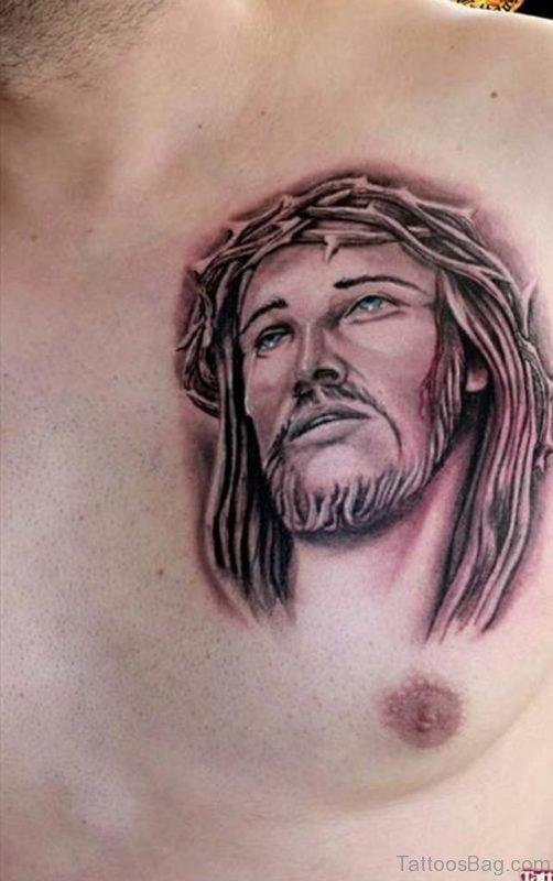 Grey Ink Jesus Head Tattoo