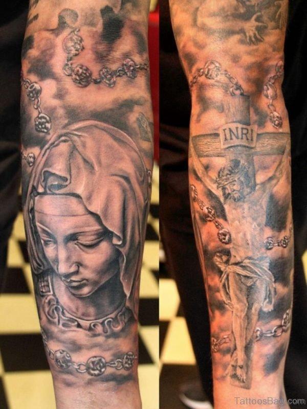 Grey Ink Jesus Tattoo