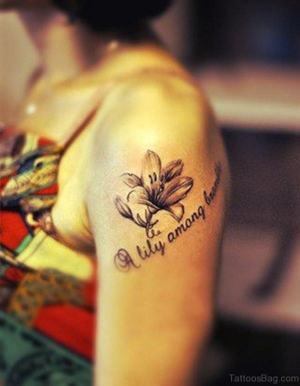 Grey Ink Lily Flower On Left Shoulder