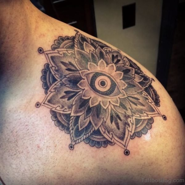 Grey Ink Mandala Tattoo On Left Shoulder